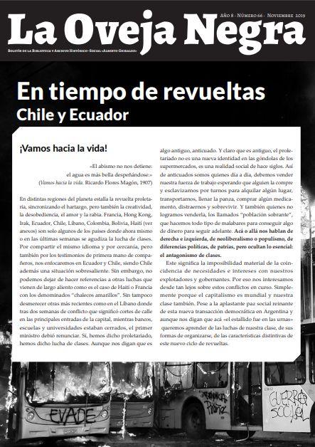 Boletín La Oveja Negra [Rosario, Arg.] edición especial «En tiempo de revueltas: Chile y Ecuador»